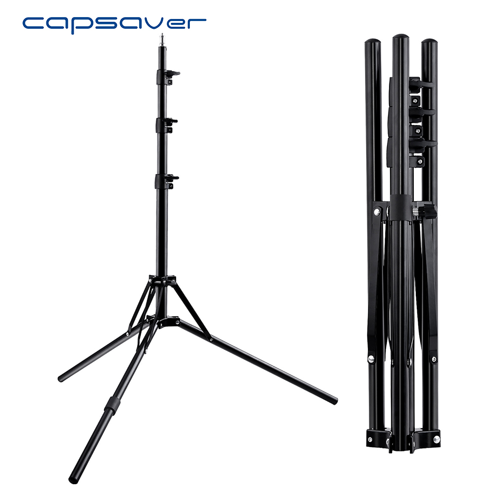 capsaver Aluminium Tripod Foldable Light Stand with 1/4 Screw Support Camera LED Ring Light Photo Video Photographic Tripod