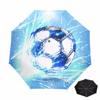New Arrive Three Folding Soccer Umbrella Male Fully Automatic Safety Umbrella Men Womens Umbrellas UV Sun Protection