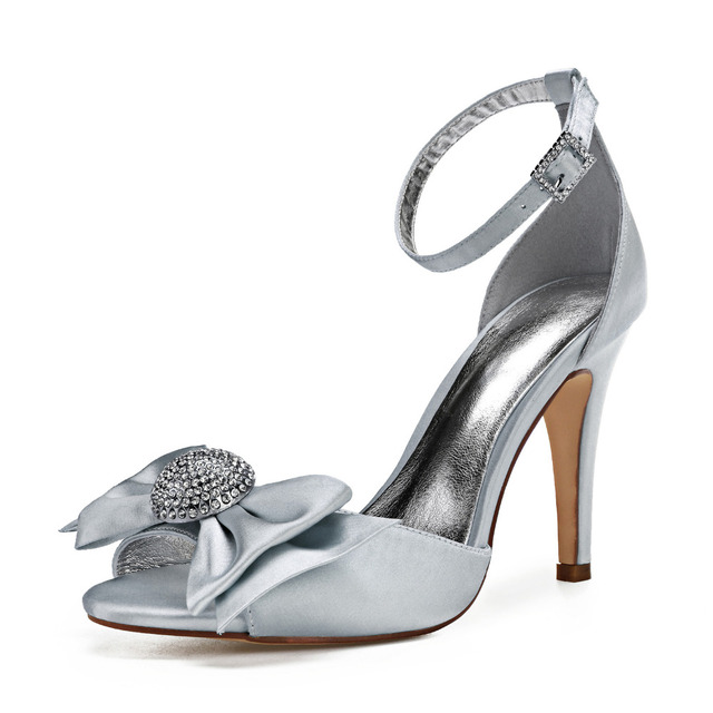 Elegant D orsay open toe satin evening dress heels stiletto bridal wedding  party prom ball shoes pumps with big bow crystal shoe 700ce486bfb8