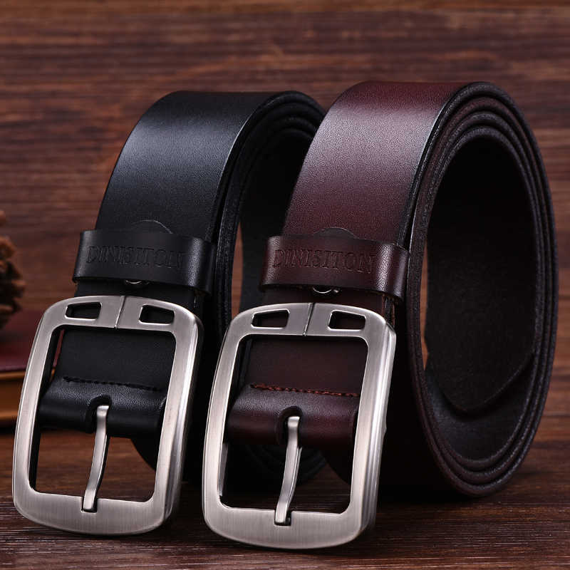 Dinisiton Sapi Kulit Asli Ikat Pinggang untuk Pria Berkualitas Tinggi Pria Vintage Gaya Pin Gesper Jeans Belt Cinturones Hombre Gratis Pengiriman