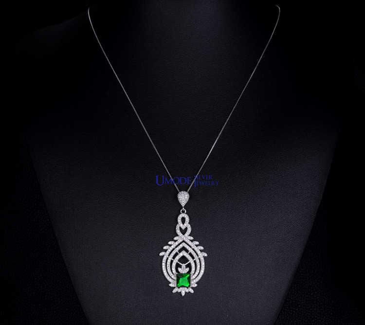 UMODE Винтаж Королевский жетон подлинное серебро 925 пробы с кулон из зеленого камня ожерелья YN0005