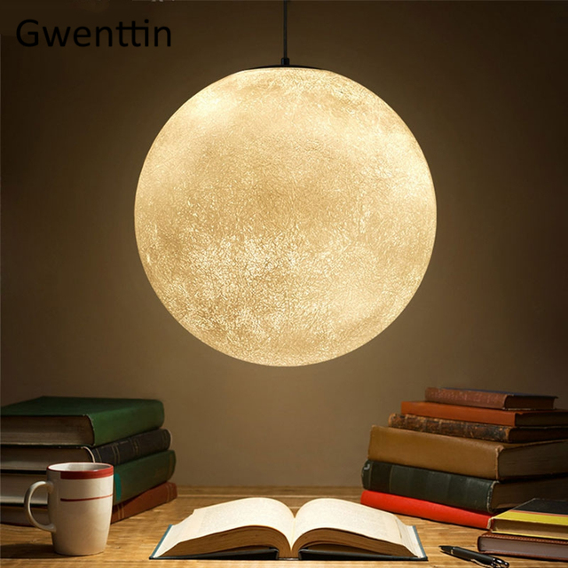 Us 80 41 28 Off Nordic Moon Lamp Ball Pendant Lights Modern Resin Hanging Lamps For Living Room Bedroom Dining Lighting Fixtures Home Deocr In