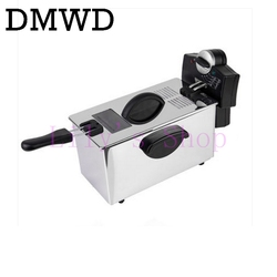 DMWD Electric deep fryer Stainless steel commercial electric fryer household chips Frying Pan French Fries making machine EU US
