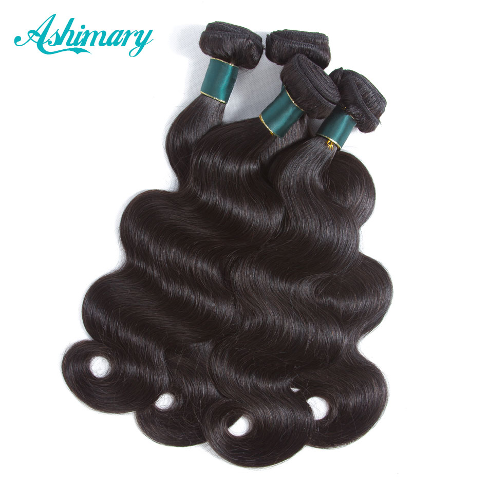 Hair Extensions & Wigs Ashimary Hair Brazilian Body Wave 1/3/4 Pcs 100% Human Hair Bundles Remy Hair Weaves 8-28 Natural Black Color Elegant And Graceful