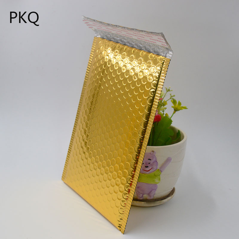 Image 3 - 50PC 3Size 15*13cm/18*23cm/20*25cm Gold Padded Shipping Envelope Metallic Bubble Mailer Gold Aluminum Foil Gift Bag Packing WrapPaper Envelopes   -