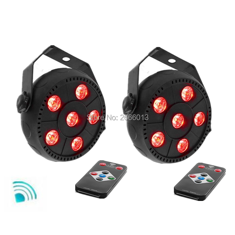 2pcs/lot Wireless remote control LED Par 6x3W RGB 3IN1 LED Wash Light Stage Uplighting No Noise Remote control Free shipping