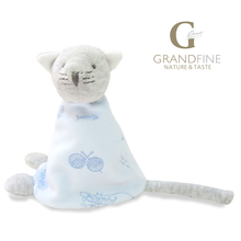 Cheap 15cm 100% hand-made blue cat baby doll,cotton linen Eco material ,plush toys for birthday party gift