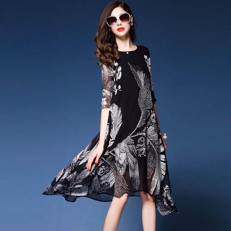 Western Fashion Floral Print Dresses Woman Half sleeve Brand Vestidos Mujer 2018 Elegant Rayon Dress Summer new dress black