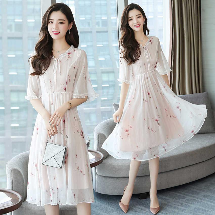 a34a6a6e01de2 Plus size Summer Chiffon Floral Boho Dres 2019 Korean Elegant Women White  Midi dresses Party White Beach sundress Casual Vestido