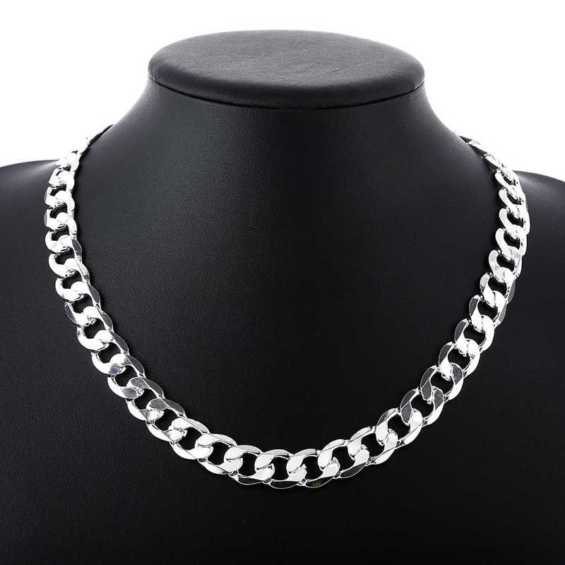 "Silver 925 10 mm 22 ""24"" Men's Figaro chain necklace for men silver 925 jewelry large necklace N185"