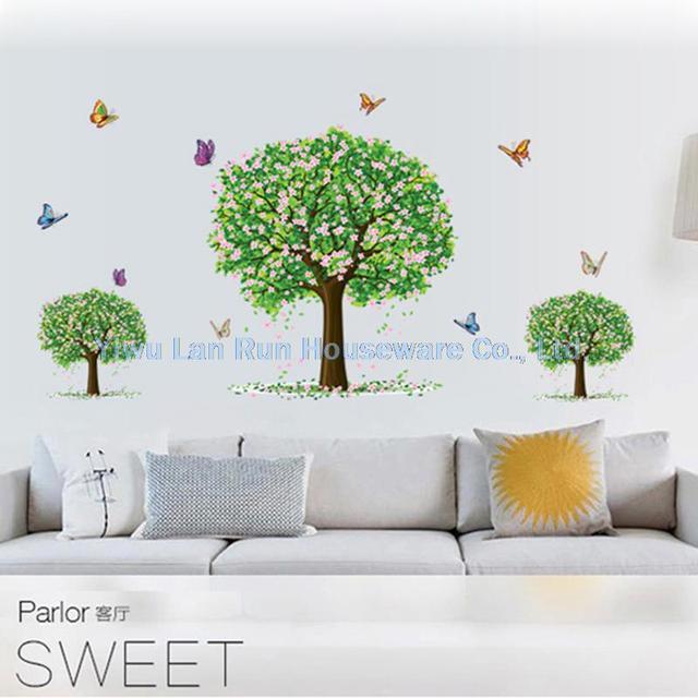 Uitverkoop 3D Bomen Vlinder Muurstickers voor Kinderkamer Slaapkamer ...