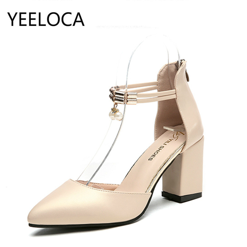 YEELOCA Summer Women Sandals Dress Shoes High Heels Boat Shoes Wedding Shoes Square Heel 7.5cm  Pointed Toe Pumps Women Shoes