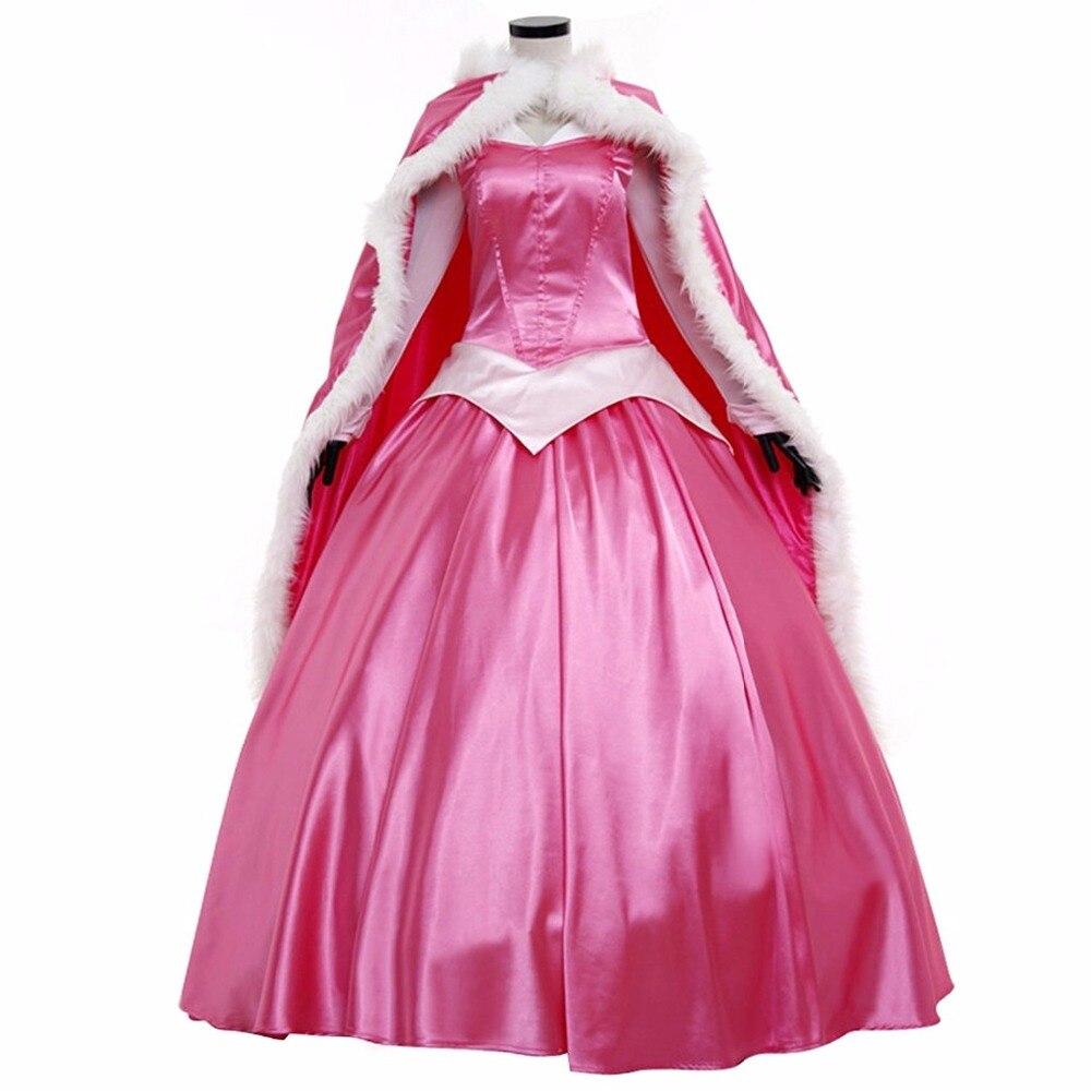Спальный Красота Принцесса Аврора платье с плащом Косплэй костюм