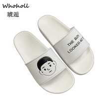 Whoholl White Slippers Indoor Flat-soled Sandals Thick-soled Couples Leisure Home Female Fur Slides Platform Slipper 45