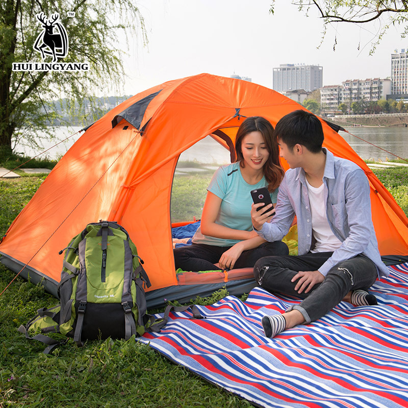 New 2 Person Ultralight Tent Outdoor Camping Double Layer Windproof Waterproof Portable Travel Tent 3 seasons Beach Travel Tents цена