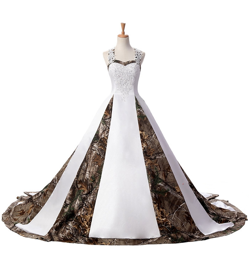 Bealegantom 2019 White Ball Gown Camo Wedding Dresses Beaded Lace Up Camouflage Bridal Gowns Vestido Robe De Mariee QA1550