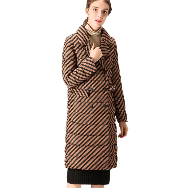 Women Autumn Winter Lapel Brown Striped Long Warm White Duck Down Jacket Thick Parkas Ladies Elegant Coat Casual Vestidos LY248