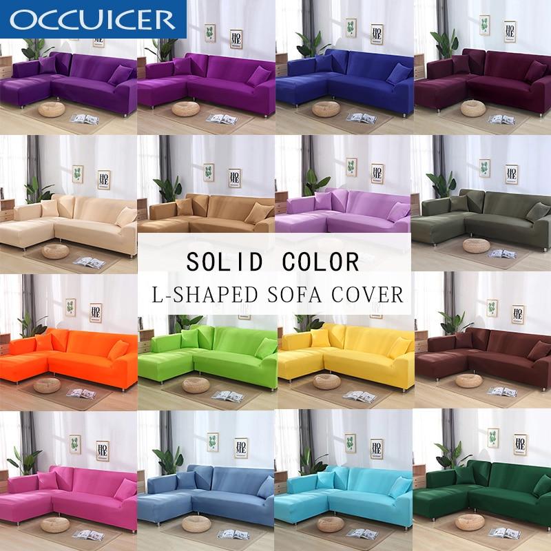 2 stücke Abdeckungen Für L Form Sofa Universal-Stretch Stoff Einfarbig Ecke Couch Elastische Anti-asche Decor Beständig sofa Schutzhülle