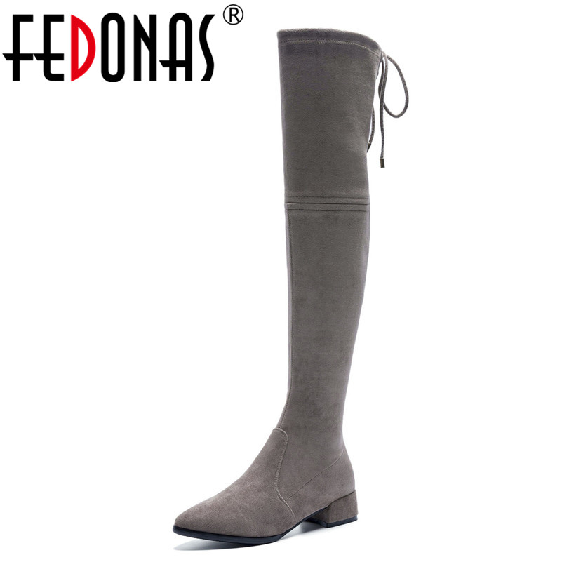 FEDONAS 2019 New Over The Knee High Boots Thick Heels Slim Long Autumn Winter Shoes Woman