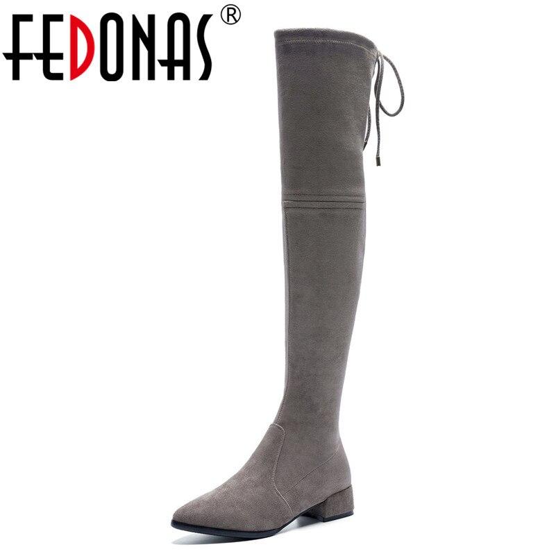 Ayakk.'ten Diz Üstü Çizmeler'de FEDONAS 2019 Yeni Diz Üzerinde Yüksek Çizmeler Kalın Topuklu Ince Uzun Sonbahar Kış Ayakkabı Kadın Sıkı Yüksek Balo dans ayakkabıları çizmeler'da  Grup 1
