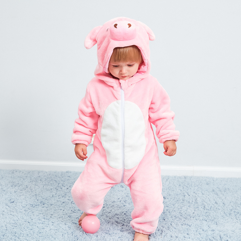 2018 Baby Rompers Flannel Baby Girl Clothes Animal Pig New Born Pajamas Boy Hooded Warm Winter Kids Jumpsuits Children Cosplay