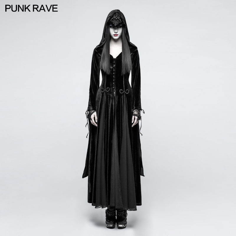 Punk Rave Gothic Witch Vampire Medieval Druid Cosplay Velvet Hoodie Long Dress Cape Y797 S L