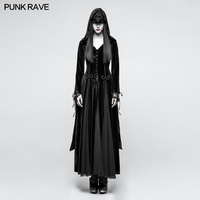 Punk Rave Gothic Witch Vampire Medieval Druid Cosplay Velvet Hoodie Long Dress Cape Y797 S L XXL