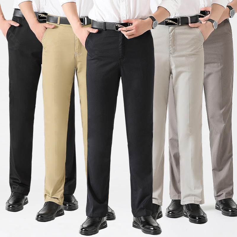 Astfsc 2019 New Fashion Casualwear Lightweight Pants High Waist Straight High Quality Cotton Thin Men Trousers For Men