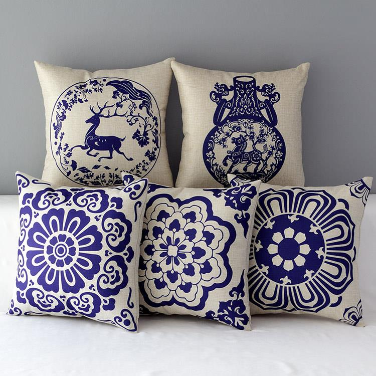 Free shipping cotton and linen pillow new bedroom sofa for Decorating with blue and white pottery