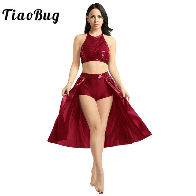 TiaoBug Adult Women Ballet Dress Sequin Halter Crop Top with Built In Leotard Skirt Set Stage Performance Lyrical Dance Costumes