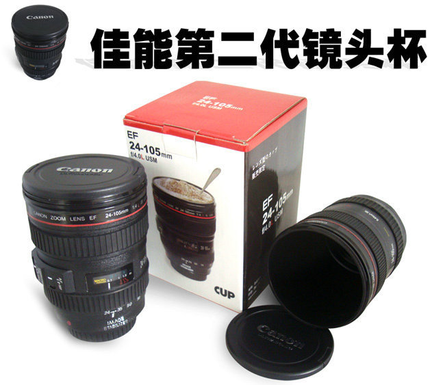 60pcs/lot New free shipping promotion gift creative gift product self-stirring camera lens coffee cup mugs