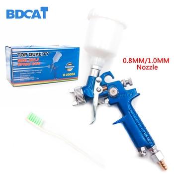 цена на BDCAT 0.8mm/1.0mm Nozzle H-2000 Professional HVLP Spray Gun Mini Air Paint Spray Guns Airbrush For Painting Car Aerograph