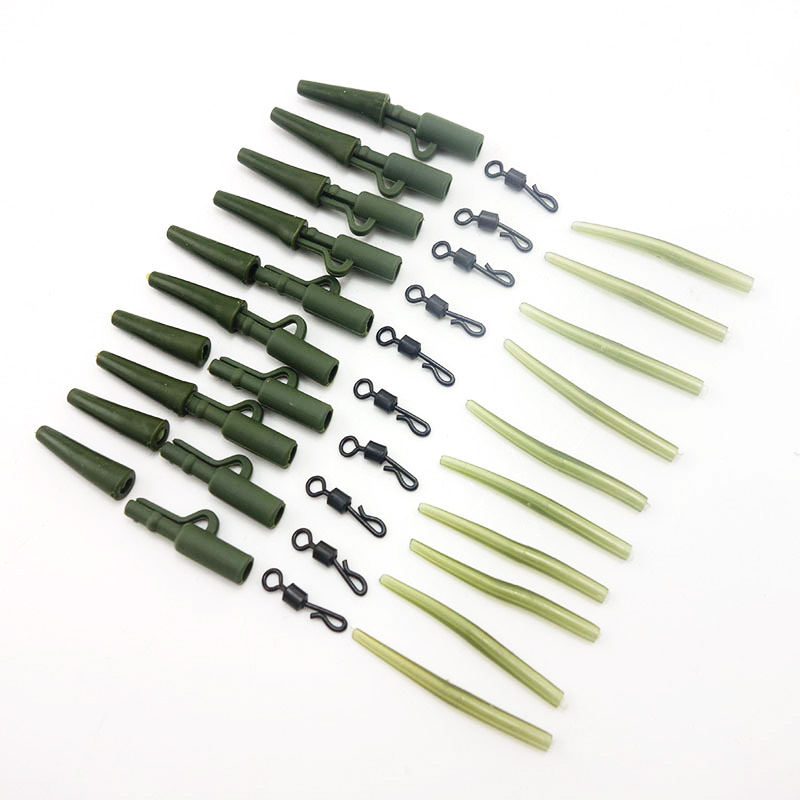 1Set Total 40pcs Carp Fishing Lead Clips Quick Change Snap Clips and Tail Rubber Connector for Carp Fishing Rigs(China)