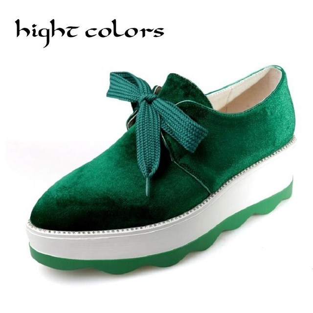 New Beauty Of Velvet Muffin Bottom Shoes 2017 Spring Bullock Pointed England College Women's Shoes Wedge Creepers Platform Pumps