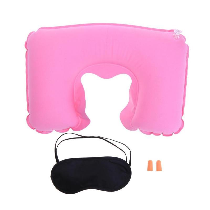 3psc/набор, новая u-образная подушка для шеи, для путешествий, автомобиля, для воздушного полета, надувные подушки, поддержка шеи, подголовник, подушка с крышкой для глаз, беруши - Цвет: Pink
