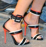 Mùa hè 2017 C Sexy Women Hộp Đêm Chắp Vá Trắng Màu Cam Đen Khóa Lớn Zip Lại Gót Mỏng Bên Váy Giày Dép
