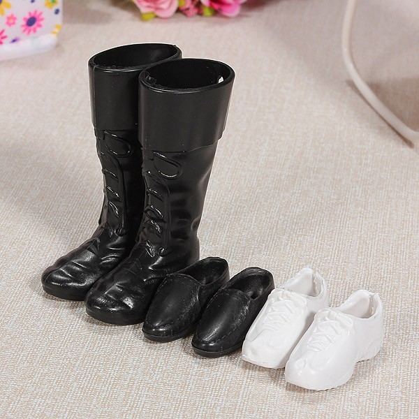 3pairs/lot Fashion Doll Shoes Boots Sneakers Shoes For Ken Dolls Accessories For Barbie Boyfriend Ken High Quality Baby Toy 500pairs lot wholesale high quality high heel shoes for 30cm dolls mixed styles sandals slippers 10pairs pack doll shoes pack