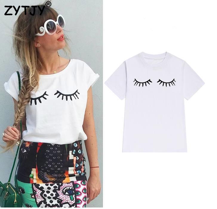 Eyelash Print Women Tshirt Cotton Casual Funny T Shirt For Lady Girl Top Tee Hipster Tumblr Drop Ship Z-1000