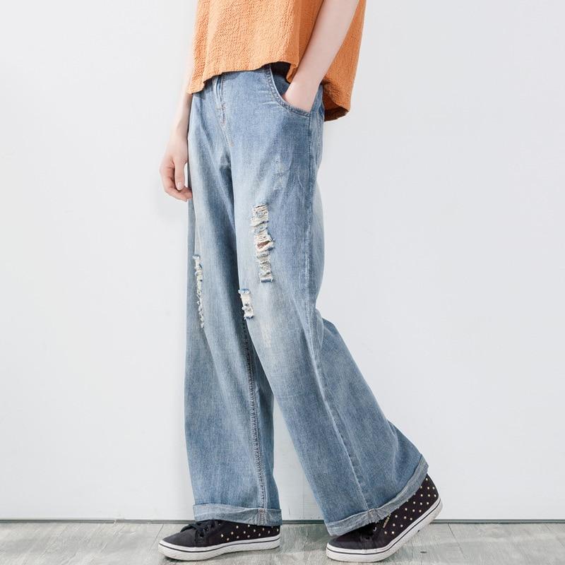 Women Bleached Holes Ripped Jeans Ladies Cuffs Denim Pants Loose Wide Leg Denim Trousers Washed Vintage Jeans Retro