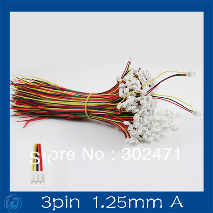 Mini. Micro 1.25mm T-1 3-Pin Connector W/.Wire X 10 Sets.3pin(1.25mm)A