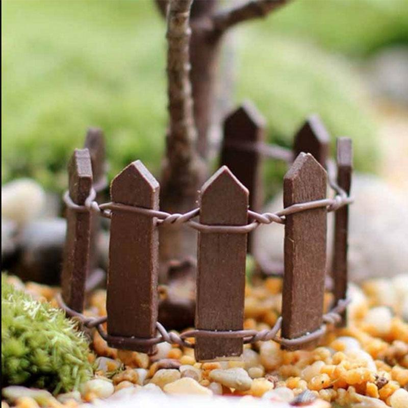 miniatura de hadas de color caf kit de jardn valla de madera casa de mueca