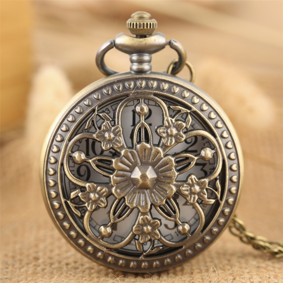 Elegance Flowers Bronze Hollow Hunter Pocket Watch Quartz Movement Vintage Exquisite Lady Jewelry Pendant Clock Gifts 2019