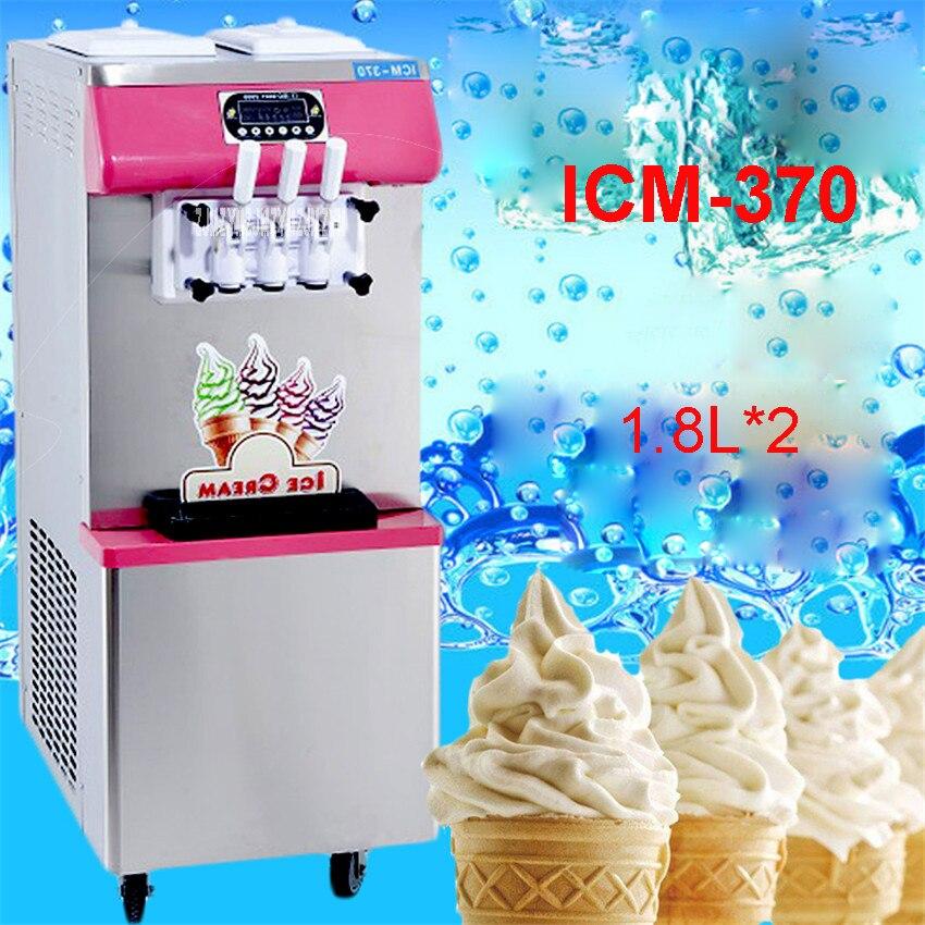 ICM 370 110 В/220 В коммерческих напольный мягкого мороженого 3 головки вкус Изящные красный розовый цвет softy Приготовление мороженого