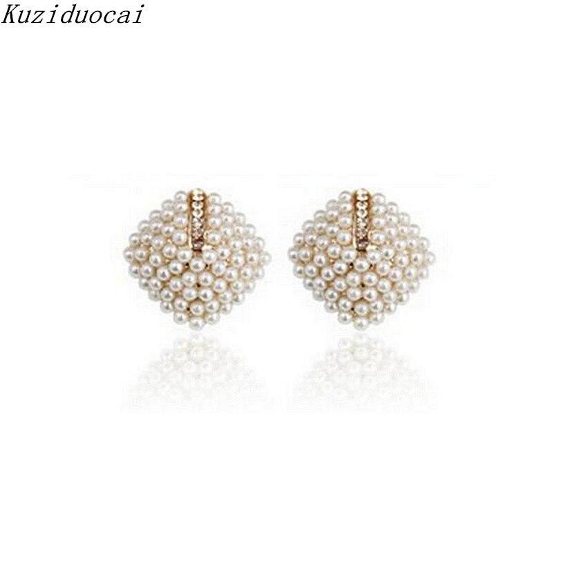 Kuziduocai 2017 New ! Fashion Fine Jewelry Gold Color Luxury Beautiful Generous Pearl Pearl Squares Stud Earrings For Women E-78