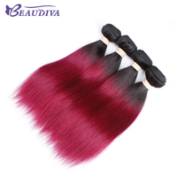 BEAUDIVA T1B 118 Ombre Colored Human Hair Weave 3Pcs Straight No Tangle Colored Hair Bundle 10