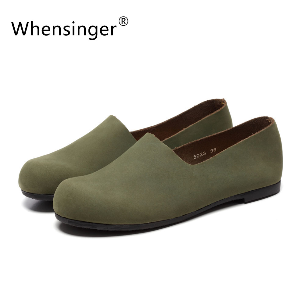 ФОТО Whensinger - 2017 Woman Leather Shoes Handmade Genuine Retro Lady Shoes women Two Ways To Wear 5023-1