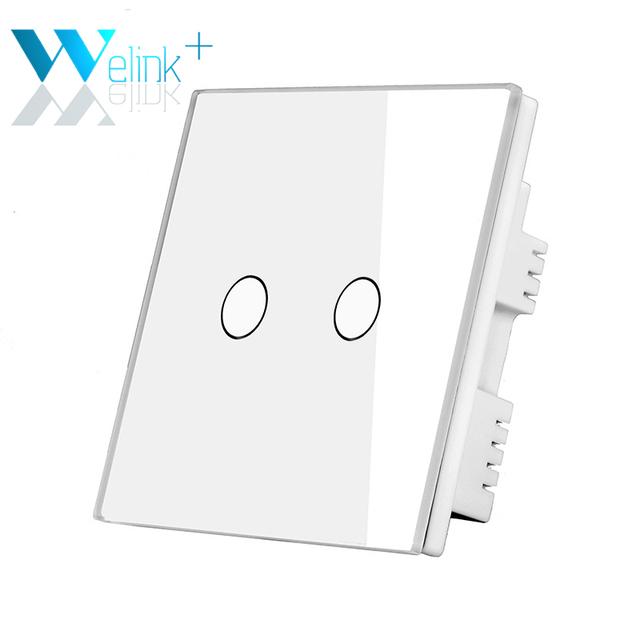 Apenas NO REINO UNIDO Padrão Interruptor de Toque 2 Gang Painel de Vidro Branco Lâmpadas LED Wall Switches Botão Sensível Ao Toque para Casa