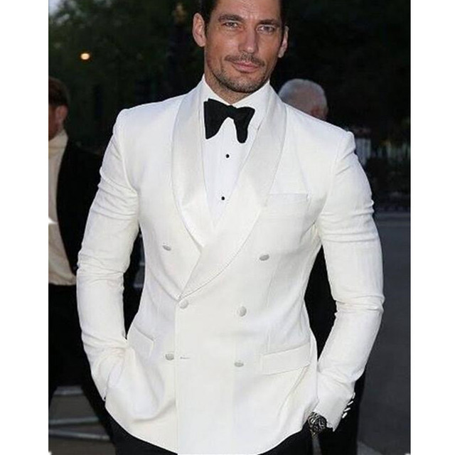 2017 Summer Style Custom Double Breasted Ivory White Man Suit ...