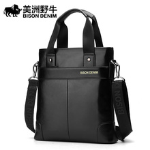 BISON DENIM Men Shoulder Bags Brand Handbag Briefcases Genuine Leather Business Tote Bag Men's Messenger Bag Casual Travel Bag