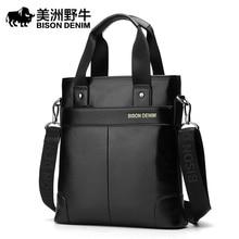 BISON DENIM Men Shoulder Bags Brand Handbag Briefcases Genuine Leather Business Tote Bag Men's Messenger Bag Casual Travel Bag